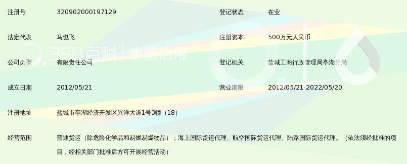 盐城跃马物流有限公司_360百科