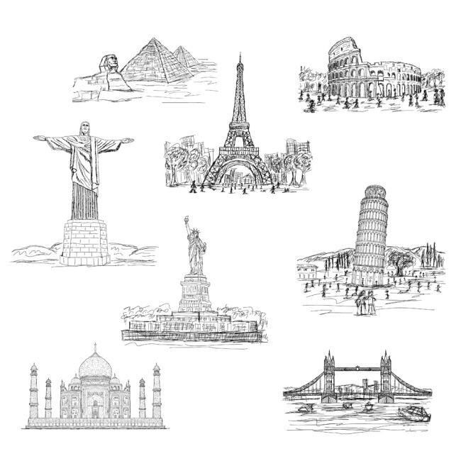 中外著名建筑手绘图集